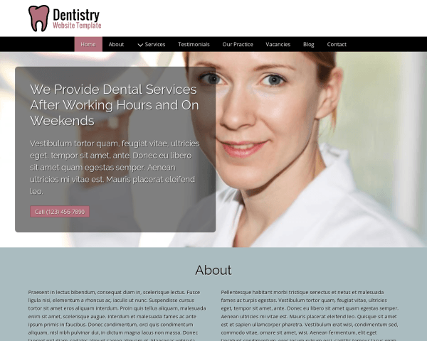 Desktop screenshot of the Dentistry Website Template