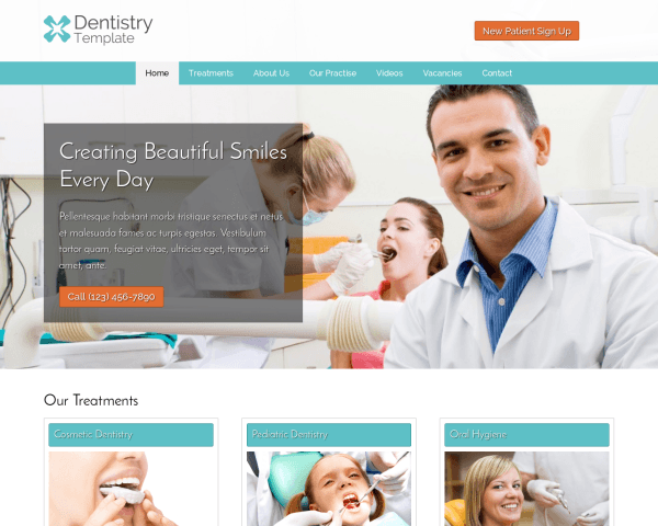 Desktop screenshot of the Dentistry Wordpress Theme