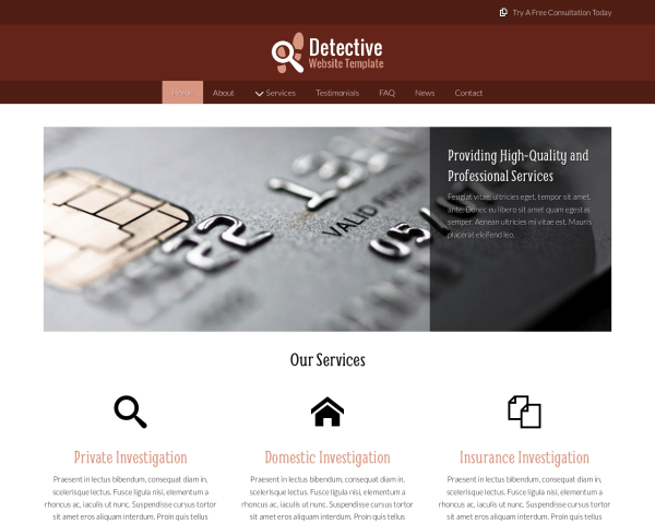Desktop screenshot of the Detective Website Template