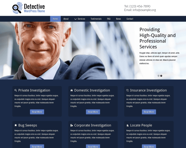 Desktop screenshot of the Detective Wordpress Theme