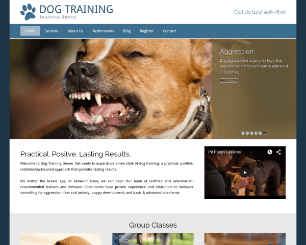 Desktop screenshot of the Dog Training Wordpress Theme