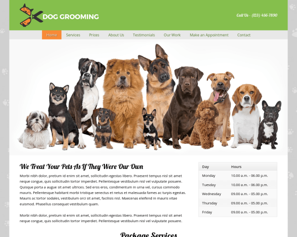 laptop screenshot WordPress theme 'Dog Grooming WordPress theme'