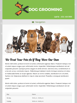tablet screenshot WordPress theme 'Dog Grooming WordPress theme'