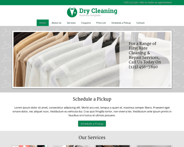 Desktop screenshot of the Dry Cleaning Wordpress Theme