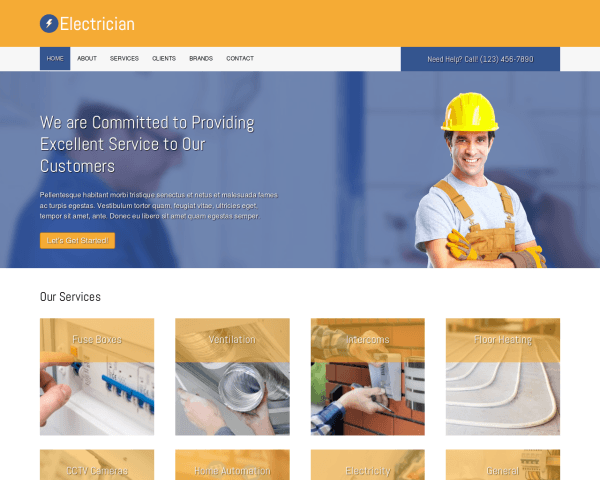 Desktop screenshot of the Electrician Website Template