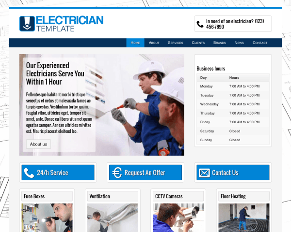 Desktop screenshot of the Electrician Wordpress Theme