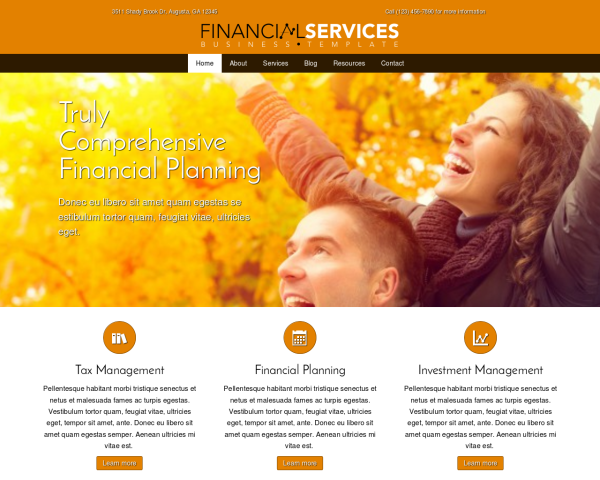 laptop screenshot WordPress theme 'Financial Services WordPress theme'