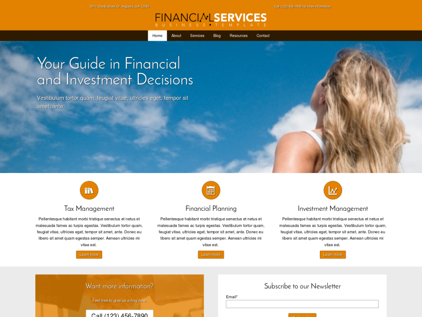 desktop screenshot of the WordPress theme 'Financial Services WordPress theme'