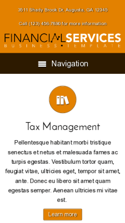 mobile phone screenshot WordPress theme 'Financial Services WordPress theme'