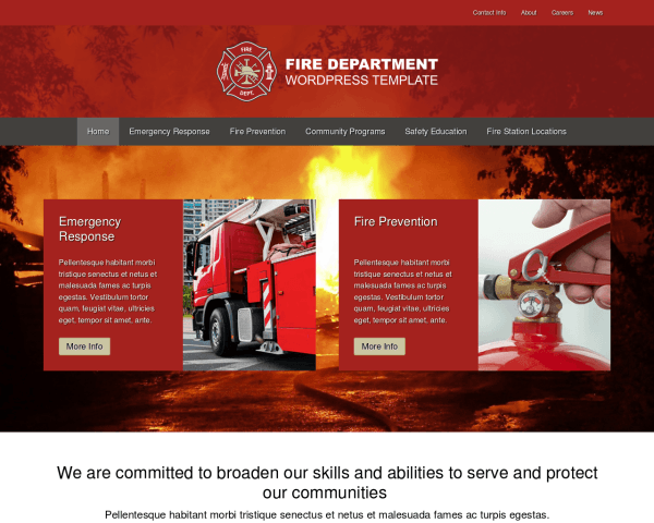 Desktop screenshot of the Fire Department Wordpress Theme