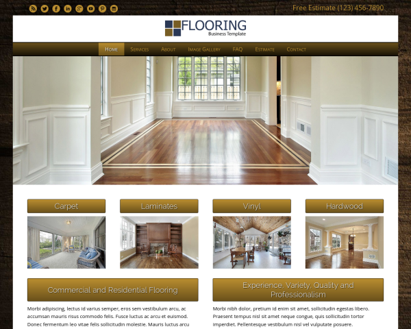 laptop screenshot WordPress theme 'Flooring WordPress theme'