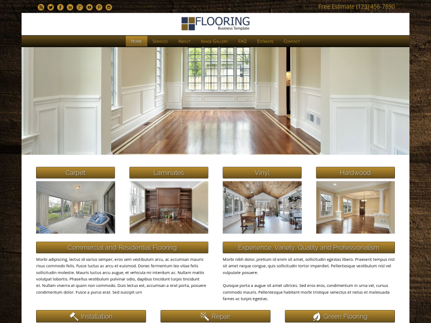 desktop screenshot of the WordPress theme 'Flooring WordPress theme'