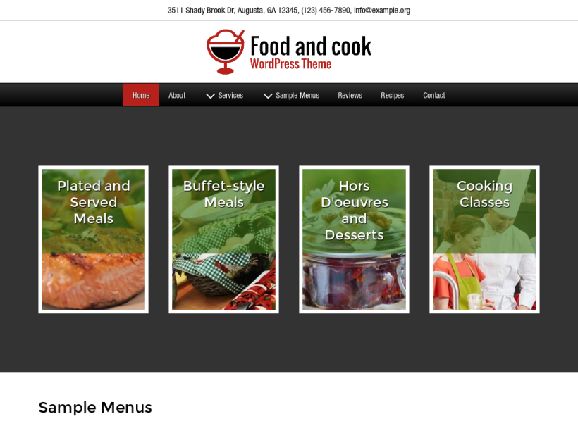 landscape tablet screenshot of WordPress theme 'Food And Cook Wordpress Theme'