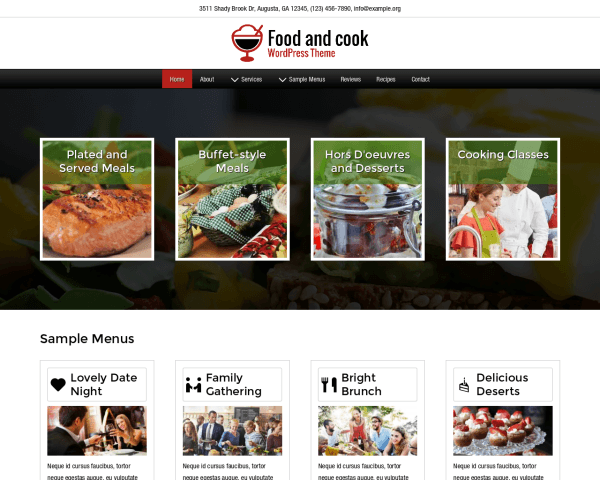 Desktop screenshot of the Food And Cook Wordpress Theme