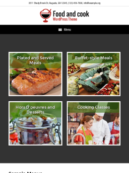 tablet screenshot WordPress theme 'Food And Cook Wordpress Theme'