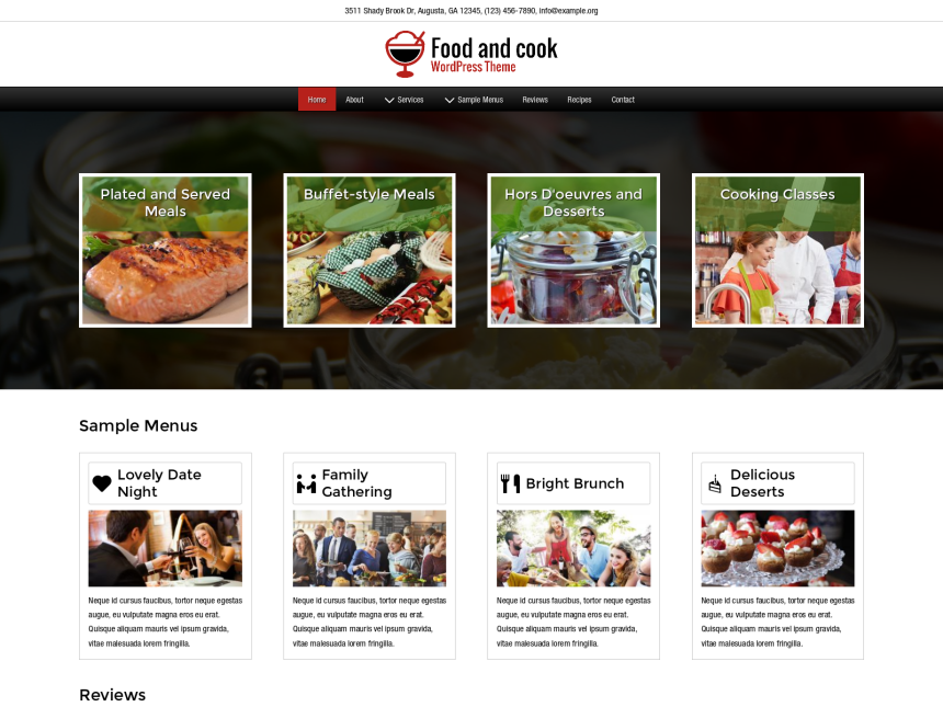 desktop screenshot of the WordPress theme 'Food And Cook Wordpress Theme'