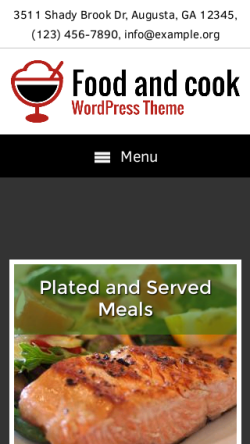 mobile phone screenshot WordPress theme 'Food And Cook Wordpress Theme'
