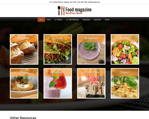 Desktop screenshot of the Food Magazine Wordpress Theme