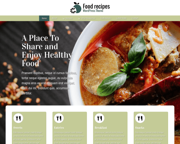 Desktop screenshot of the Food Recipes Wordpress Theme