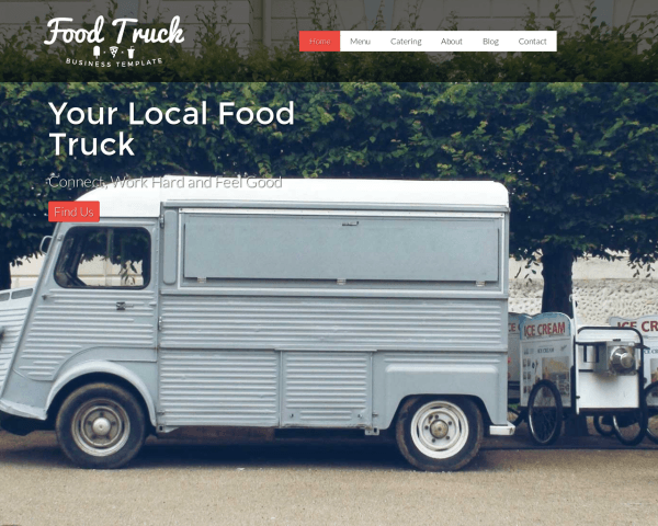 Desktop screenshot of the Food Truck Wordpress Theme