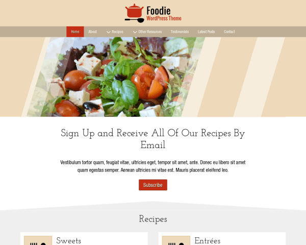 Desktop screenshot of the Foodie Wordpress Theme
