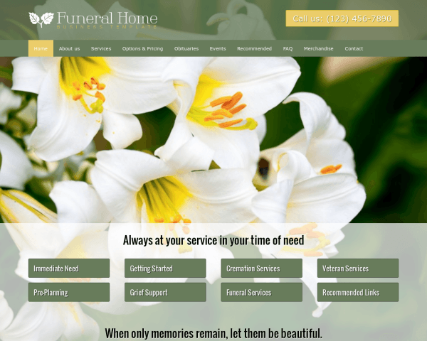 Funeral Home WordPress theme thumbnail (desktop screenshot)