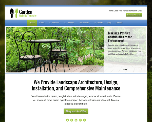 Desktop screenshot of the Garden Website Template