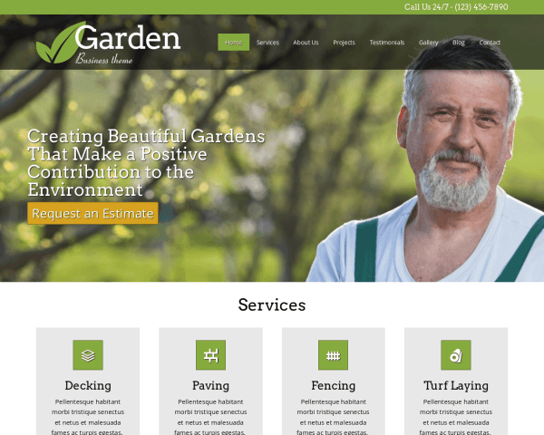 Desktop screenshot of the Garden Wordpress Theme