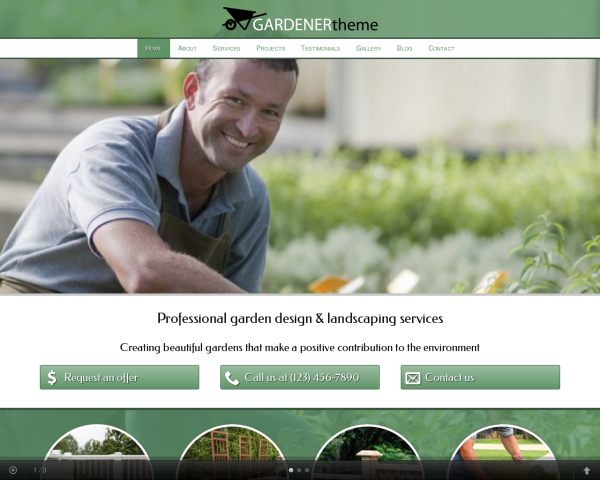 laptop screenshot WordPress theme 'Gardener WordPress theme'
