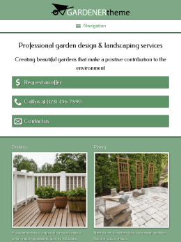 tablet screenshot WordPress theme 'Gardener WordPress theme'
