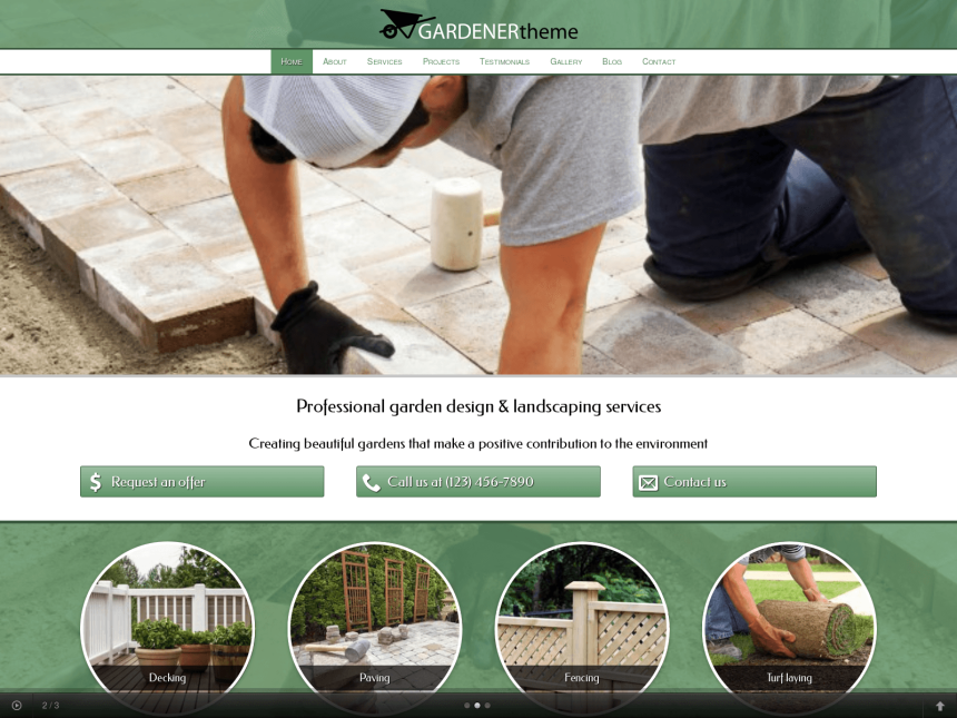 desktop screenshot of the WordPress theme 'Gardener WordPress theme'