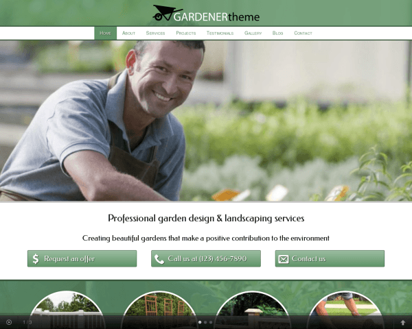 Desktop screenshot of the Gardener Wordpress Theme