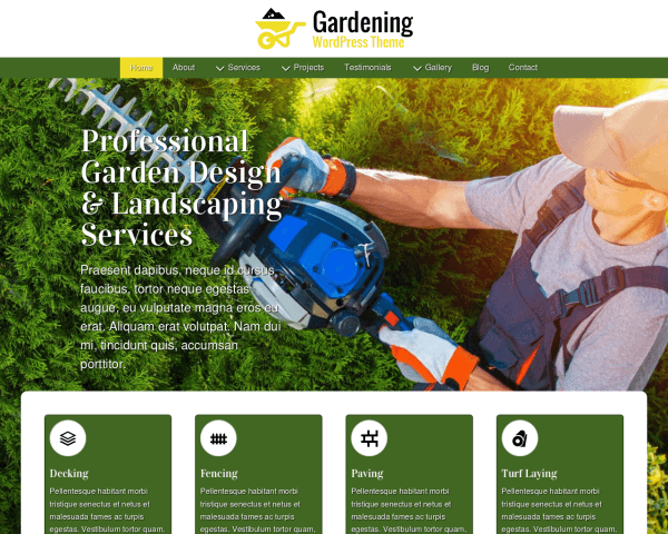 Desktop screenshot of the Gardening Wordpress Theme