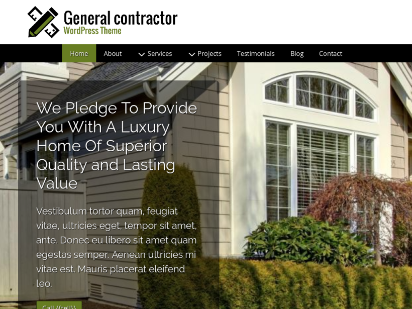 landscape tablet screenshot of WordPress theme 'General Contractor Wordpress Theme'
