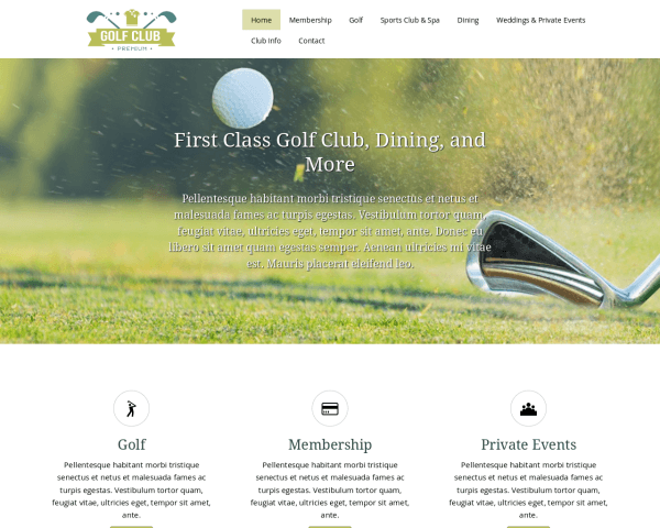 Golf Club Website Template