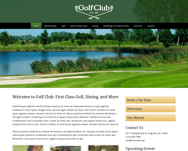 laptop screenshot WordPress theme 'Golf Club WordPress theme'