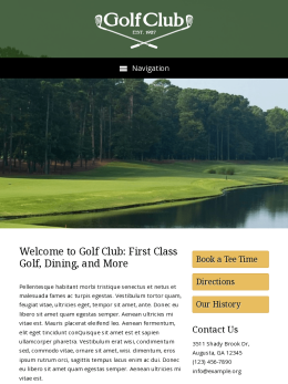 tablet screenshot WordPress theme 'Golf Club WordPress theme'