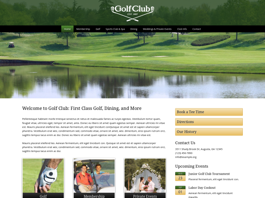 desktop screenshot of the WordPress theme 'Golf Club WordPress theme'