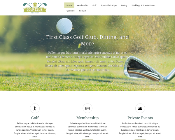 image representation of the Golf Club Website Template