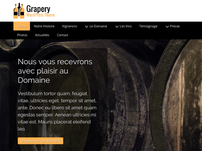 landscape tablet screenshot of WordPress theme 'Grapery Wordpress Theme'