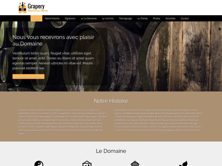 desktop screenshot of the WordPress theme 'Grapery Wordpress Theme'