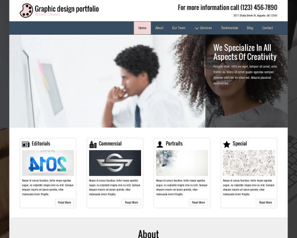 Desktop screenshot of the Graphic Design Portfolio Website Template