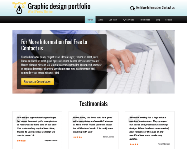Desktop screenshot of the Graphic Design Portfolio Wordpress Theme