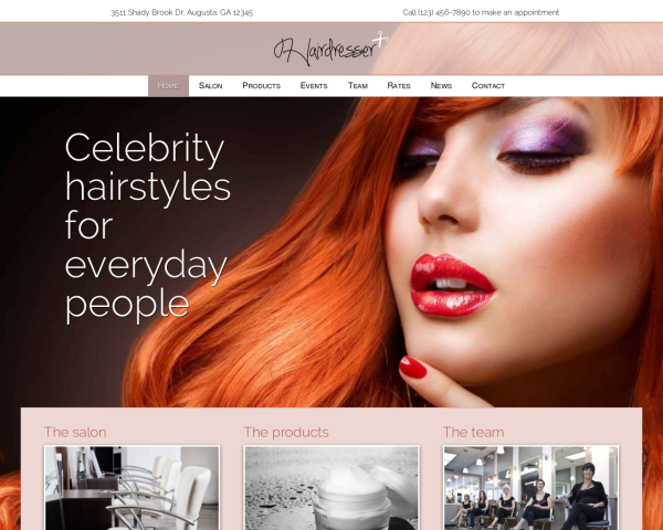 laptop screenshot WordPress theme 'Hairdresser WordPress theme'