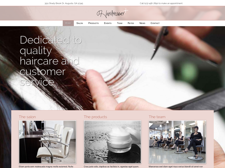 desktop screenshot of the WordPress theme 'Hairdresser WordPress theme'