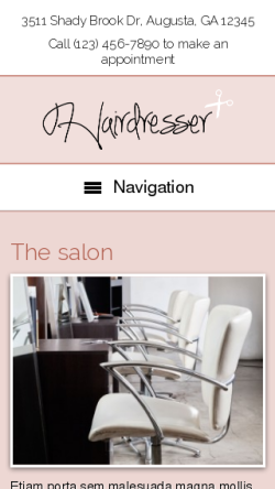 mobile phone screenshot WordPress theme 'Hairdresser WordPress theme'