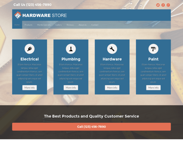 Desktop screenshot of the Hardware Store Wordpress Theme