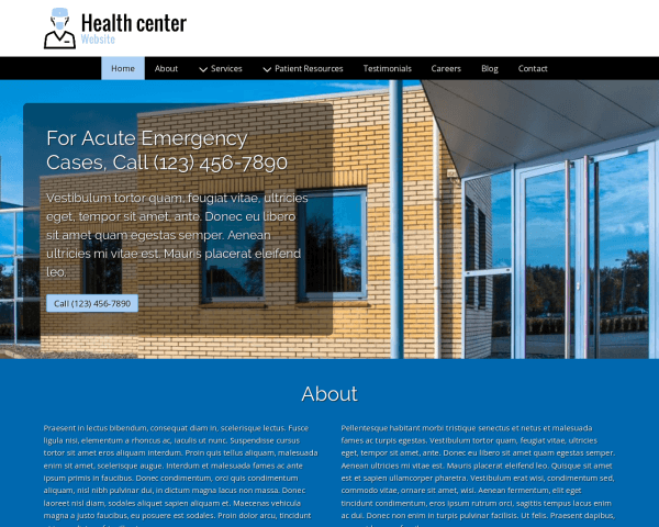 Desktop screenshot of the Health Center Website
