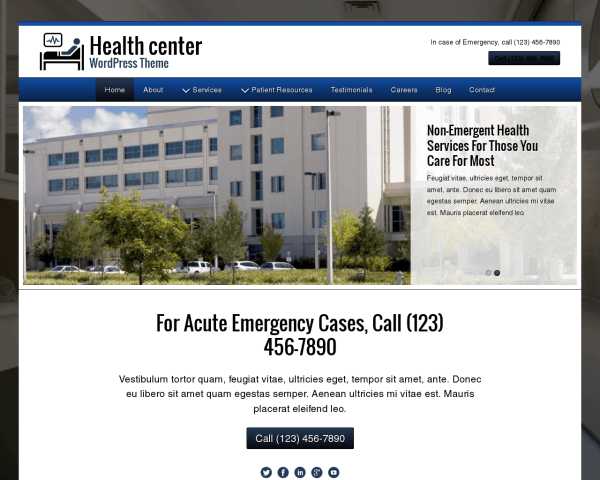 Desktop screenshot of the Health Center Wordpress Theme