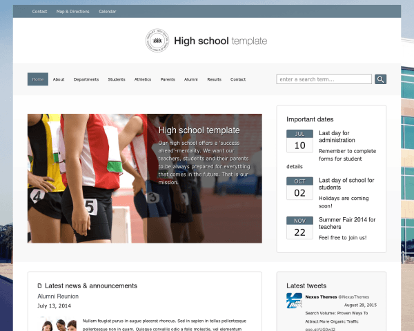 Desktop screenshot of the High School Wordpress Theme